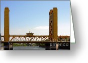 Bridge Greeting Cards - Tower Bridge Sacramento - A Golden State icon Greeting Card by Christine Till