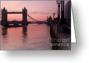 City Hall Digital Art Greeting Cards - Tower Bridge Sunrise Greeting Card by Donald Davis
