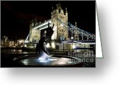 Tower Of London Greeting Cards - Tower Bridge With Girl and Dolphin Statue Greeting Card by David Pyatt