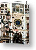 Large Clocks Greeting Cards - Tower Clock in Saint Marks Square Greeting Card by Susan Holsan