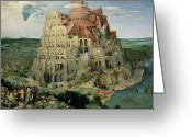 Genesis Greeting Cards - Tower of Babel Greeting Card by Pieter the Elder Bruegel