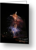 Fire Works Greeting Cards - Tower of Fire Power Greeting Card by Heidi Hermes