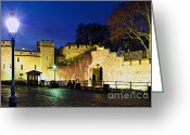 Benches Photo Greeting Cards - Tower of London walls at night Greeting Card by Elena Elisseeva