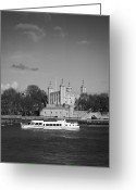 Tower Of London Greeting Cards - Tower of London with tourist boat Greeting Card by Gary Eason