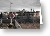 Underground Greeting Cards - Tower of London with Tube sign Greeting Card by Jasna Buncic