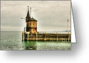 The Haunted House Greeting Cards - Tower on Lake Greeting Card by Syed Aqueel