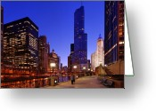 Wrigley Greeting Cards - Tower View Greeting Card by Donald Schwartz