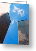Twin Towers World Trade Center Greeting Cards - Towers Greeting Card by Bruce Lennon