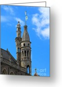 Town Hall Greeting Cards - Towers of the Town Hall in Bruges Belgium Greeting Card by Louise Heusinkveld
