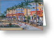 Umbrellas Greeting Cards - Town Center Abacoa Jupiter Greeting Card by Marilyn Dunlap