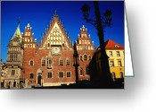 Town Hall Greeting Cards - Town Hall Facade, Wroclaw, Dolnoslaskie, Poland, Europe Greeting Card by Witold Skrypczak