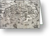 Old Map Drawings Greeting Cards - Town map of Alexandria in Egypt Greeting Card by Unknown