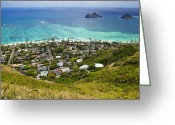 Hawai Greeting Cards - Town of Kailua with Mokulua Islands Greeting Card by Inti St. Clair