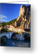 Rural Landscapes Greeting Cards - Town of Sisteron in Provence France Greeting Card by Elena Elisseeva