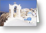 Thira Photo Greeting Cards - Town of Thira Santorini Greeting Card by Jeremy Woodhouse