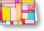 Colorful Pastels Greeting Cards - Town Greeting Card by Setsiri Silapasuwanchai