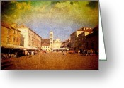 Featured Greeting Cards - Town Square #edit - #hvar, #croatia Greeting Card by Alan Khalfin