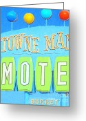 Welcome Signs Greeting Cards - Towne Manor Motel Greeting Card by Wingsdomain Art and Photography