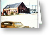 Background Greeting Cards - Toy Car Fake Background Greeting Card by Antonio Carlos Silva Filho