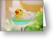 Drinking Water Greeting Cards - Toy Duck Swimming In A Glass Of Blue Water Greeting Card by Margarita Komine