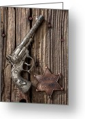 Wooden Board Greeting Cards - Toy gun and ranger badge Greeting Card by Garry Gay