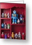Concepts Greeting Cards - Toy robots on shelf  Greeting Card by Garry Gay