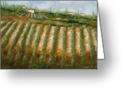Farm Painting Greeting Cards - Tra I Filari Nella Vigna Greeting Card by Guido Borelli