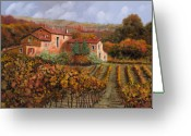 Farm Painting Greeting Cards - tra le vigne a Montalcino Greeting Card by Guido Borelli