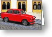 Red Car Greeting Cards - Trabant Ostalgie Greeting Card by Christine Till