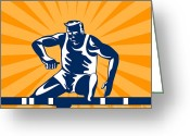 Jumping Digital Art Greeting Cards - Track and Field Athlete Jumping Hurdles Greeting Card by Aloysius Patrimonio