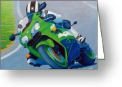 Bike Riding Greeting Cards - Track Day - Kawasaki ZX9 Greeting Card by Brian  Commerford