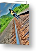 Train Track Greeting Cards - Track Less Traveled Greeting Card by Emily Stauring