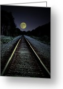 Train Track Greeting Cards - Track To The Moon Greeting Card by Emily Stauring