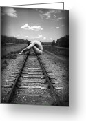 Black And White Nude Photo Greeting Cards - Tracks Greeting Card by Chance Manart