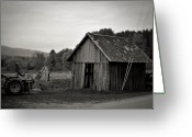 Shed Greeting Cards - Tractor and Shed Greeting Card by Mandy Wiltse