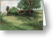 Summers Greeting Cards - Tractor Shed Greeting Card by Ethel Vrana
