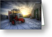 Sunset Framed Prints Greeting Cards - Tractor Sunrise Greeting Card by Yhun Suarez