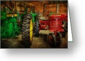 Big Wheel Greeting Cards - Tractors at Rest - John Deere - Mccormick - Farmall - farm equipment - nostalgia - vintage Greeting Card by Lee Dos Santos