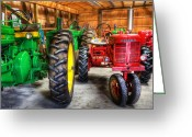 Big Wheel Greeting Cards - Tractors at Rest II- John Deere - Mccormick - Farmall - farm equipment  - nostalgia - vintage Greeting Card by Lee Dos Santos