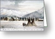 Great Plains Greeting Cards - TRADING OUTPOST, c1860 Greeting Card by Granger