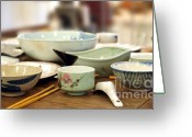 Wooden Bowls Greeting Cards - Traditional Chinese Dinner Table Greeting Card by Yali Shi
