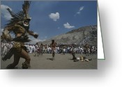 Ethnic Greeting Cards - Traditional Dancing At The Pyramid Greeting Card by Kenneth Garrett