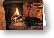 Lit Greeting Cards - Traditional English Pub Fireplace Greeting Card by Andy Smy