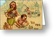Play Drawings Greeting Cards - Traditional Game 3 Greeting Card by Autogiro Illustration