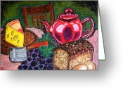 Teapot Greeting Cards - Traditional supper Greeting Card by Ulrike Proctor