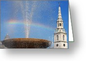 Trafalgar Greeting Cards - Trafalgar Square Rainbow Horizontal Greeting Card by Heidi Hermes