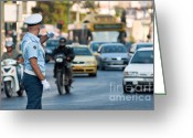 Cop Cars Greeting Cards - Traffic cop Greeting Card by Andrew  Michael