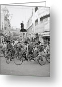 Hustle Bustle Greeting Cards - Traffic in Benares Greeting Card by Shaun Higson