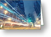 Long Street Greeting Cards - Traffic In Hong Kong At Night Greeting Card by Cozyta