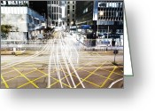 Long Street Greeting Cards - Traffic Light Trails On Street Greeting Card by Thank you for choosing my work.